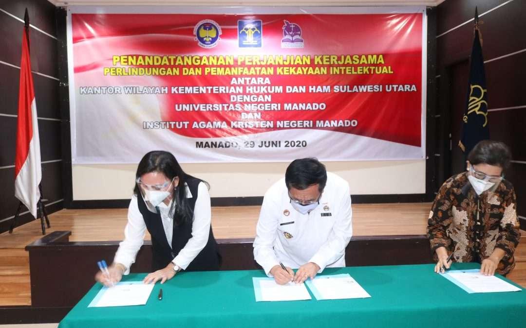 Penandatanganan Perjanjian Kerjasama Perlindungan dan Pemanfaatan Kekayaan Intelektual IAKN Manado dan Kemenkumham Sulut Sukses Digelar