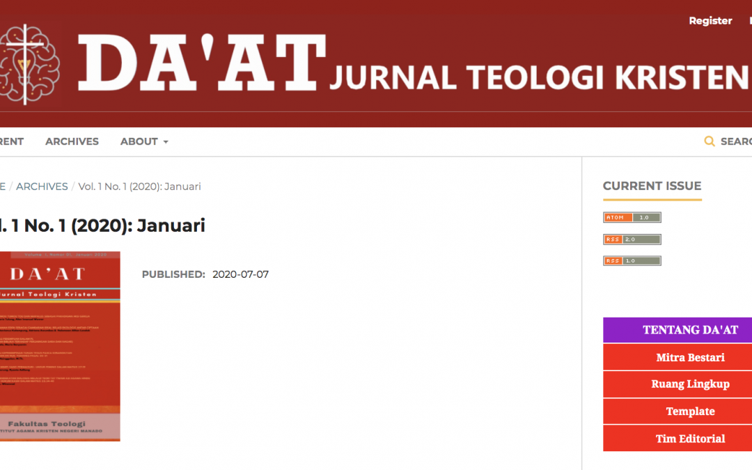 "Mari Mengenal e-jurnal ""Da'at"" Prodi Teologi  IAKN Manado"