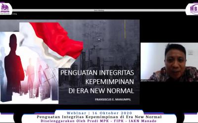 "Prodi MPK Gelar Webinar  ""Penguatan Integritas Kepemimpinan di Era New Normal"""